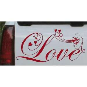 Red 12in X 24.7in    Love Swirl With Hearts Christian Car Window Wall