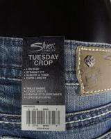 NWT Womens SILVER Jeans TUESDAY CROP Low Rise & Embroidered