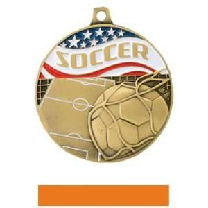 Hasty Awards Americana Custom Soccer Medals GOLD MEDAL/ORANGE RIBBON 2