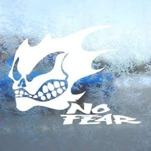 NO FEAR GHOST SKULL LOGO White Decal Laptop Window White