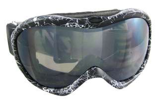 Black / White Paint Splatter Ski Goggles Smoke Lens