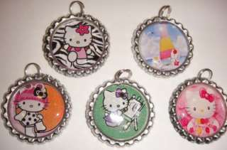 assorted HELLO KITTY Finished Flattened Bottle Caps Pendants with