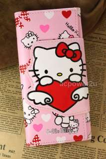 Pink hello kitty cat bifold flap cover card photo faux leather bag