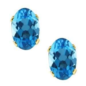 1.00 Ct Vs Oval Blue Topaz 14K Yellow Gold Stud Earrings