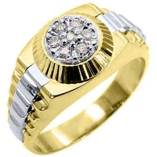 MENS .45CT BRILLIANT ROUND CUT SHAPE DIAMOND RING 14K TWO TONE WHITE