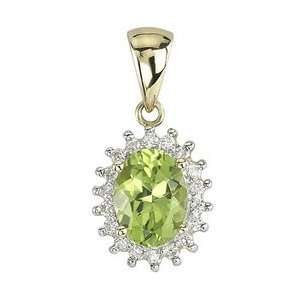 14K Yellow Gold Oval Shape Peridot & Diamond Pendant