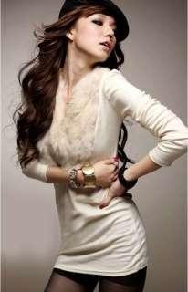Fashion Korea Faux Fur Rabbit Hair V neck Long Sleeves T Shirt Coat