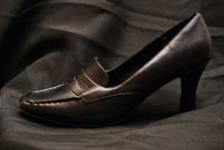 City Snappers Brown/Black Loafer Dress Work Chunky Heel