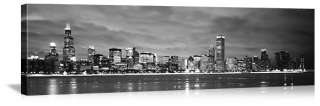 Chicago Skyline Canvas Black/White Print 48 60 72 90