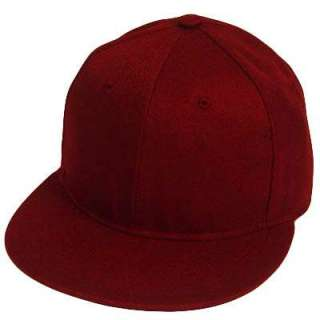BLANK PLAIN SOLID MAROON FLAT BILL FITTED HAT CAP SMALL