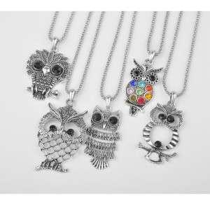 5Pcs Wholesale Fashion Jewelry Lot Mixed Silver VINTAGE Owl Pendant