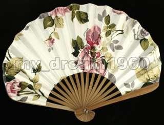 Handcraft Japanese silk embroidery folding Bamboo fan