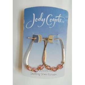 JODY COYOTE HOOP & GEM 12K GOLD PLATED EARRINGS