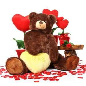 Jumbo Smooches Heart Tubs LETS KISS Yellow Heart Dark Caramel Teddy