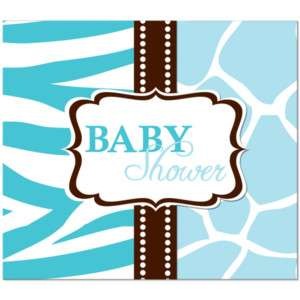 Wild Safari Blue Baby Shower Party Invitations 073525924908