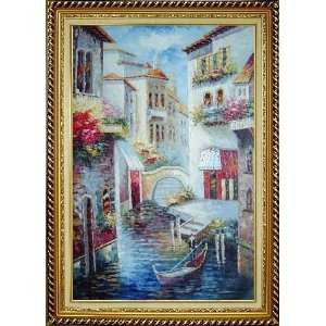 Venice Water Canal Scene Oil Painting, with Linen Liner Gold Wood