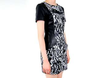 Womens rare black lamb skin leather party mini dress S M L