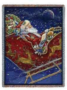 CHRISTMAS SANTA SLEIGH REINDEER TAPESTRY THROW AFGHAN BLANKET