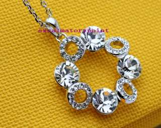 18k White Gold GP use Swarovski Crystal Necklace _ N79