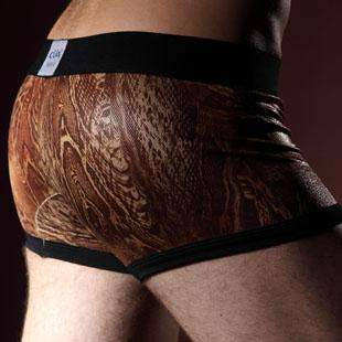 Low Rise Ice Silk Snake Printing Mens Boxer Brief Underwear M L XL 2XL