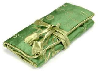SILK JEWELRY TRAVEL BAG Roll Case Pouch Carrying Brocade Fabric Green