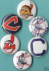 Cleveland Indians Set of 6 Pins buttons Badges