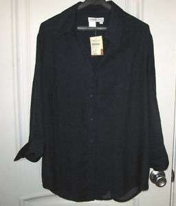Coldwater Creek Navy Blue Shirt Petite L New W.Tags