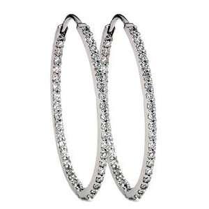 SI1 Inside Outside Oval Shape 18K White Gold Diamond Hoops Earrings