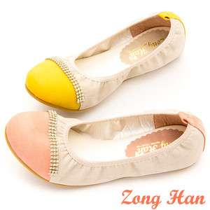 Brand New Women Jeweled Comfy Flats Shoes Beige / Coral Pink, Beige