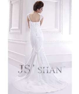 Jsshan Embroidery Lace Satin Mermaid Formal Bridal Gown Wedding Dress