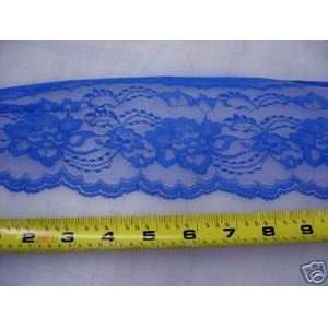 Lace Edge Trim 4 1/2 In Royal Blue Floral LEF02: Arts, Crafts & Sewing