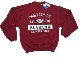 ALABAMA CRIMSON TIDE ADULT RED SCREEN PRINTED V NOTCH CREW SWEATSHIRT