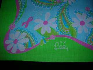 LILLY PULITZER SCARF FORD PINK RIBBON GREEN BLUE PINK