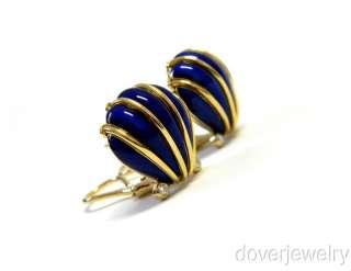 Tiffany & Co Schlumberger Diamond 18K Gold Blue Enamel Large Earrings