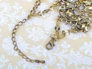 Gold Tone Pink Rose Lavender Crystal Rhinestone Enamel Chain Bracelet