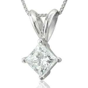 14k White Gold Princess Cut Solitaire Diamond Pendant Necklace (HI, I2