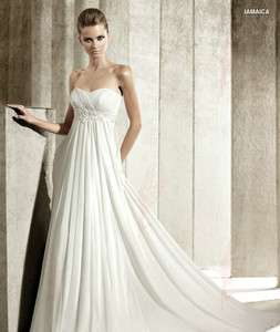 Customized White/Ivory New Chiffon fold Beaded Wedding Dresses all