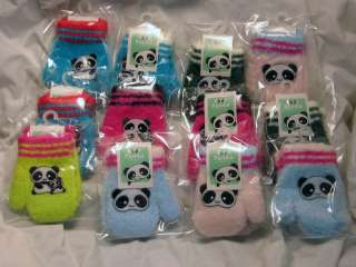 Toddler Baby Child   Pair Colorful Cute Panda Bear Gloves Mittens