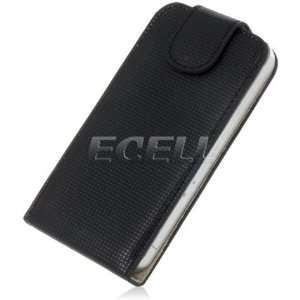 Ecell   BLACK TEXTURE LEATHER FLIP CASE COVER FOR iPHONE 4