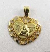 GUARDIAN ANGEL PENDANT   Solid 14k Yellow Gold Cherub Heart Charm