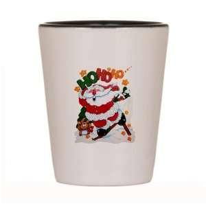 Shot Glass White and Black of Merry Christmas Santa Claus Skiing Ho Ho