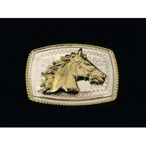 Head Cowboy Western 3d Square Gold and Silver Finishing Belt Buckle