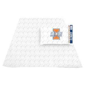 Illinois Fighting Illini Sheet Set   Twin Bed Sports