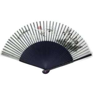 Swan Sunset Blue Bamboo Wood Oriental Silk Folding Fan