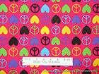 david textiles retro heart peace sign pink hippie retro flower power