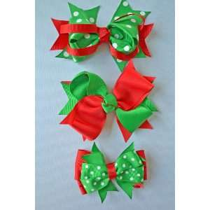 of 3 Boutique Christmas Chunky Grosgrain Ribbon Bows Girls Hair Clips