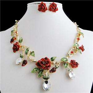 Rose Flower Necklace Earring Set Red Swarovski Crystal Rhinestone