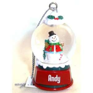 Andy Christmas Snowman Snow Globe Name Ornament