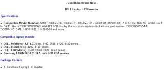 DELL Inspiron 14.1 1100 LCD screen backlight inverter