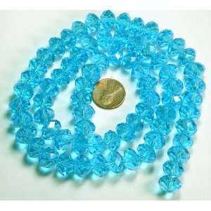 com 12x8mm Aqua Blue Luster Crystal Glass Faceted Fluted Cut Rondelle